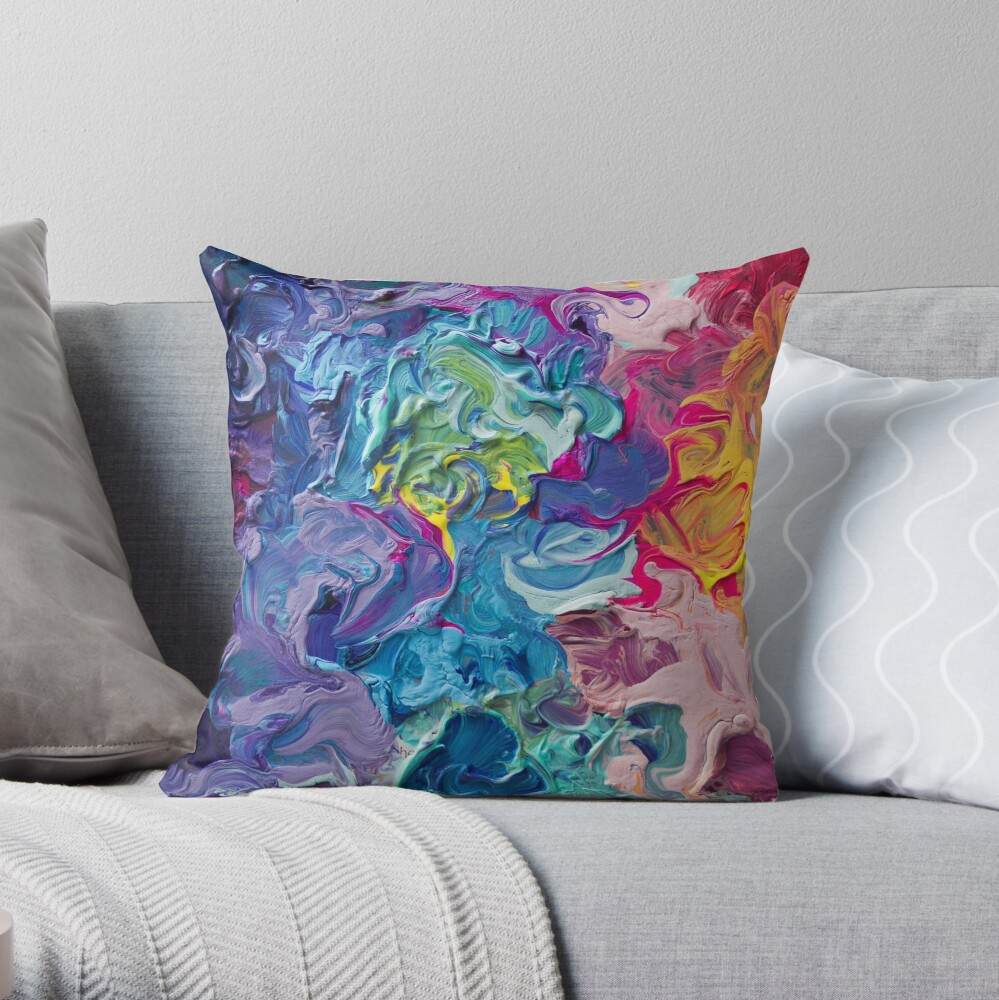 Rainbow Flow Abstraction Throw Pillow