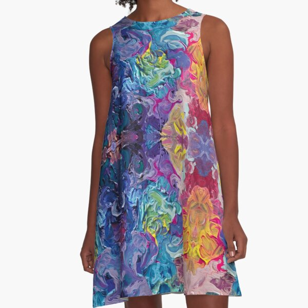 Rainbow Flow Abstraction A-Line Dress
