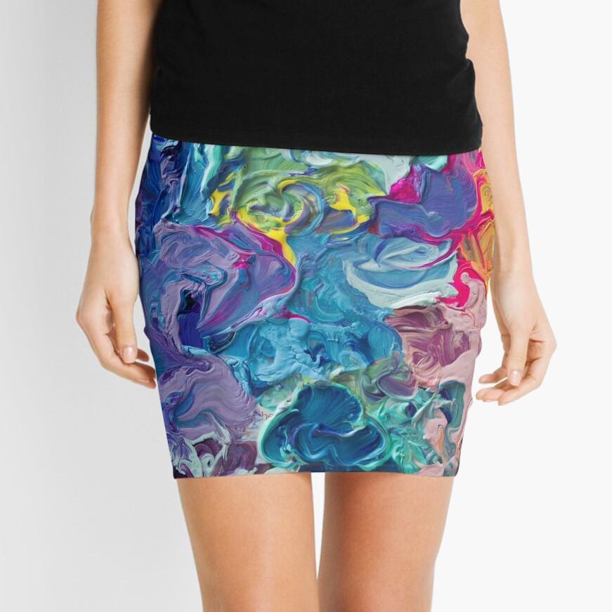 Rainbow Flow Abstraction Mini Skirt