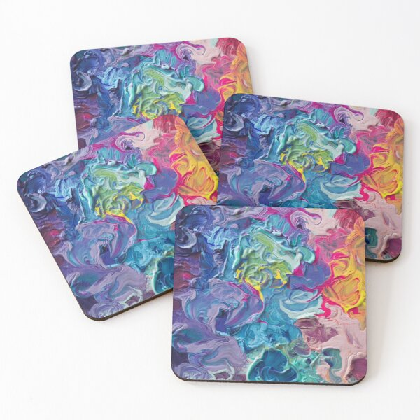 Rainbow Flow Abstraction Coasters (Set of 4)
