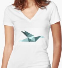 Flying Swan Origami  Women's Fitted V-Neck T-Shirt