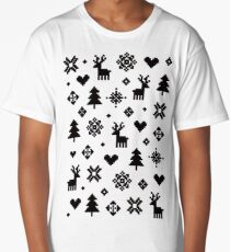 Pixel Pattern - Winter Forest - Black and White Long T-Shirt