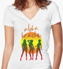 Aloha beaches Women's Fitted V-Neck T-Shirt