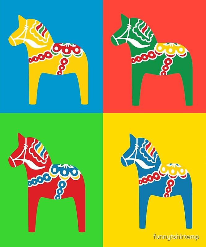 Dala Horses Dalarna Squares Sweden Horse Dalecarlian Swedish Colorful by  funnytshirtemp