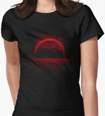 Lost Home! Colosal Future Sci-Fi Deep Space Scene in diabolic Red Womens Fitted T-Shirt