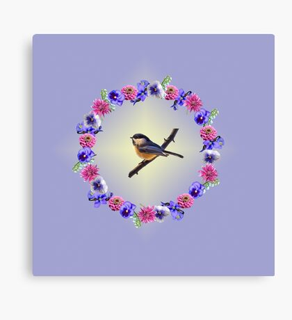 Chick-a-dee Flower Ring Canvas Print