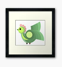 Green Hen, Vector Design Framed Print