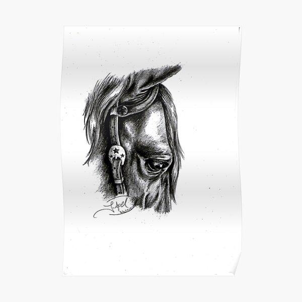 """Calm"" - American Quarter Horse, Graphite Poster"
