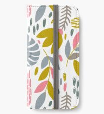 Beautiful tropical pattern with pink, gray and gold leaves. iPhone Wallet