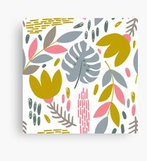 Beautiful tropical pattern with pink, gray and gold leaves. Canvas Print