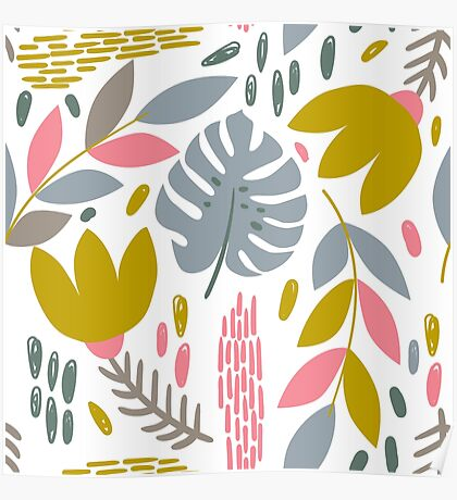 Beautiful tropical pattern with pink, gray and gold leaves. Poster