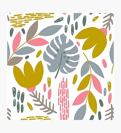 Beautiful tropical pattern with pink, gray and gold leaves. Photographic Print