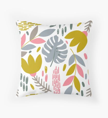 Beautiful tropical pattern with pink, gray and gold leaves. Throw Pillow