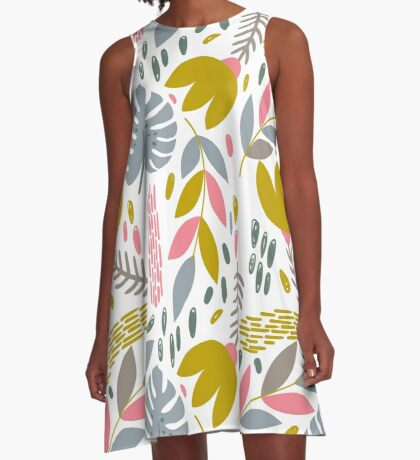 Beautiful tropical pattern with pink, gray and gold leaves. A-Line Dress