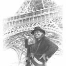 woman by Eiffel tower drawing by Mike Theuer