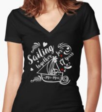 17 Years Wedding Anniversary Gift Ideas Beach Themed Marriage Ceremony Reception Women's Fitted V-Neck T-Shirt