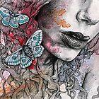 Ornaments (street art female pencil portrait with moths butterflies) by Marco Paludet