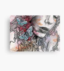Ornaments - street art female pencil portrait with moths butterflies Metal Print