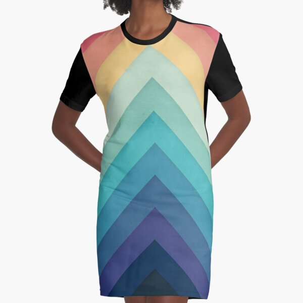 Retro Chevrons 002 Graphic T-Shirt Dress