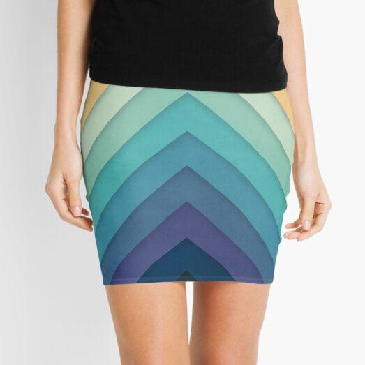 Retro Chevrons 002 Mini Skirt