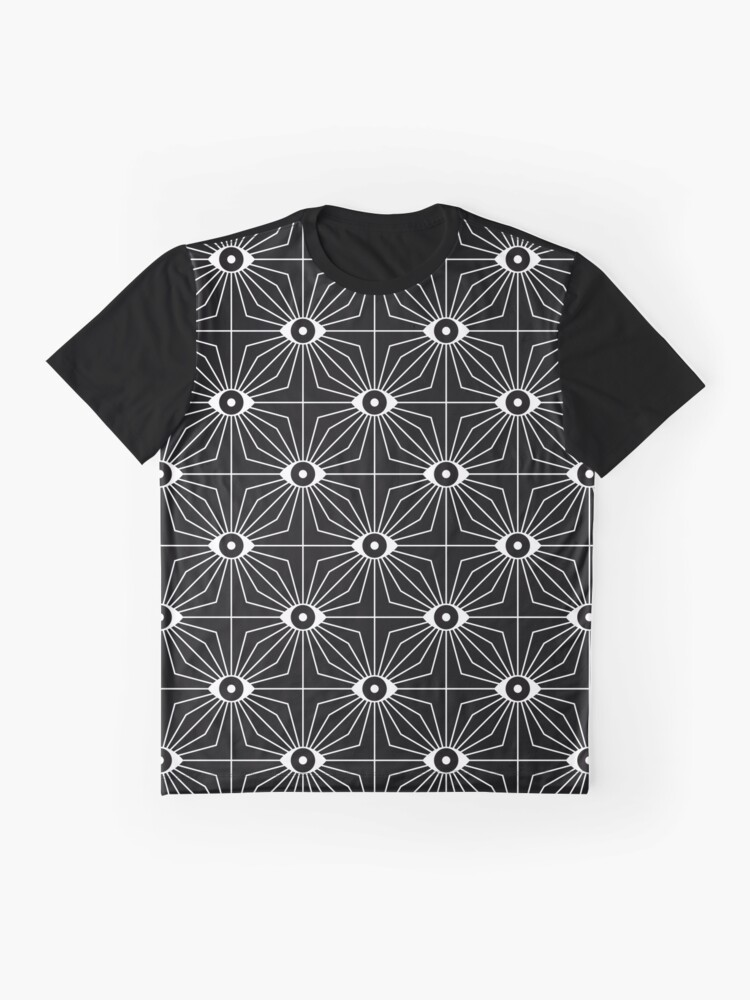 Alternate view of Electric Eyes - Black and White Graphic T-Shirt