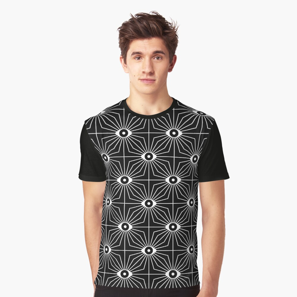 Electric Eyes - Black and White Graphic T-Shirt
