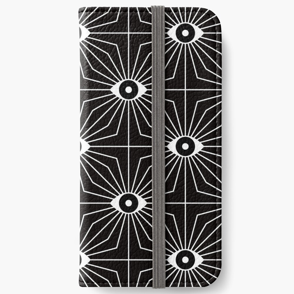 Electric Eyes - Black and White iPhone Wallet