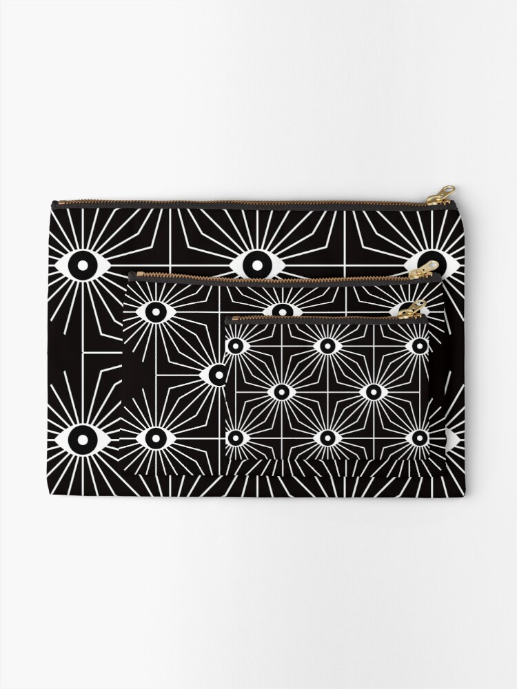 Alternate view of Electric Eyes - Black and White Zipper Pouch