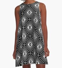 Electric Eyes - Black and White A-Line Dress