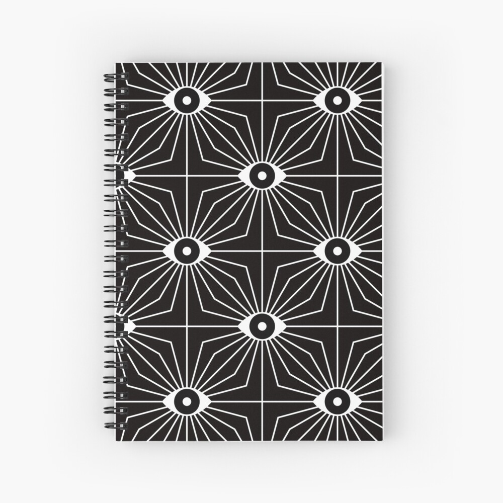 Electric Eyes - Black and White Spiral Notebook