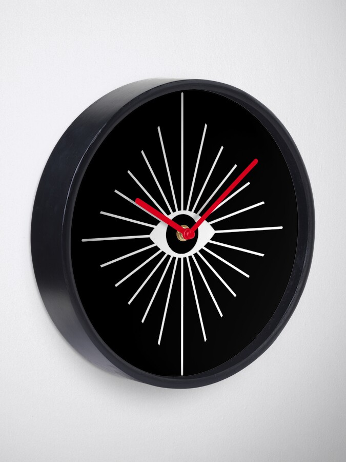 Alternate view of Electric Eyes - Black and White Clock