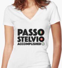 Passo Stelvio Accomplished Italy Cycling Stelvio Pass Climb Giro d'Italia Women's Fitted V-Neck T-Shirt