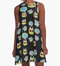 Hello Cool Cat Patches and Badges A-Line Dress