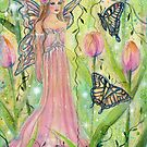 Spring Tulip fairy fantasy art by Renee L Lavoie by Renee Lavoie
