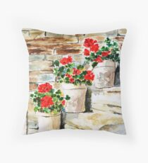 red geranium outside window Throw Pillow
