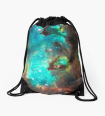 Green Galaxy Drawstring Bag