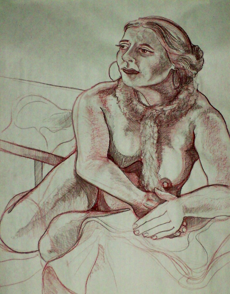 Female Nude with Scarf (Drawing)- by Robert Dye