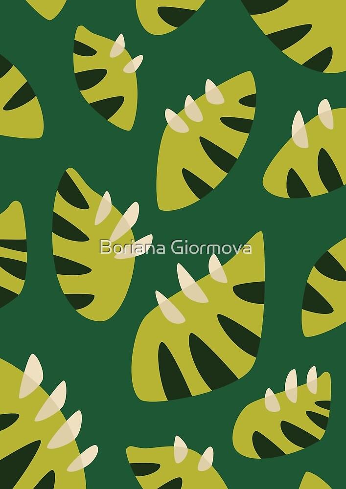 Clawed Abstract Green Leaf Pattern by Boriana Giormova