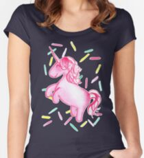 Ponicorn (Navy) - By Merrin Dorothy Women's Fitted Scoop T-Shirt