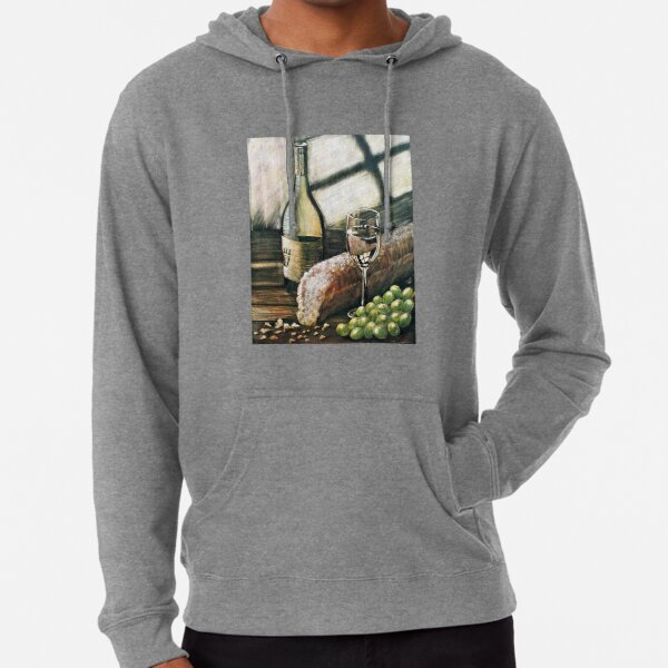 Wine, bread and grapes Lightweight Hoodie