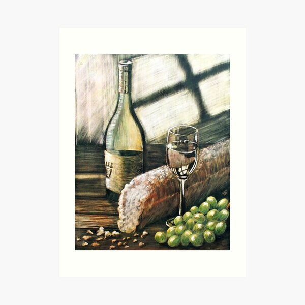 Wine, bread and grapes Art Print