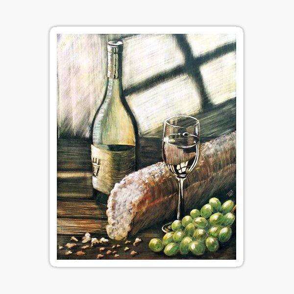 Wine, bread and grapes Sticker