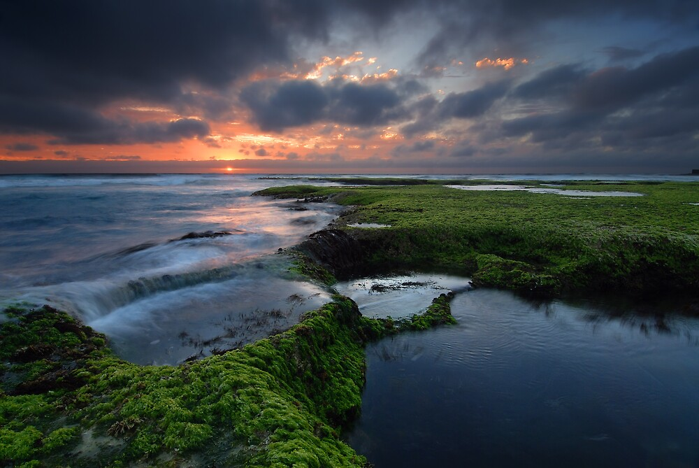 Days end on Back Beach by Robert Mullner