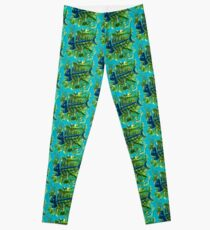 FISH SKELETON SWIRLING SEAS Leggings