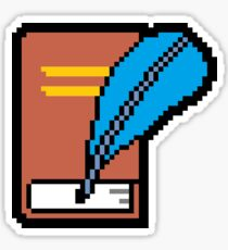 Pixel Art Book & Quill Sticker