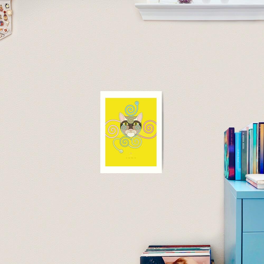 Yellow Spiral Cat Art Print