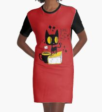 Books and Cats and Tea Graphic T-Shirt Dress