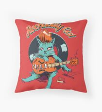 Rockabilly Cat Throw Pillow