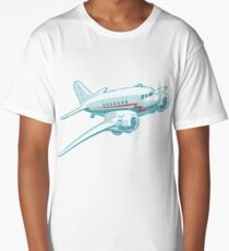 Cartoon Retro Airplane Long T-Shirt