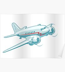 Cartoon Retro Airplane Poster